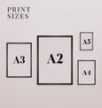 Wall art print sizes, interior wall gallery inspiration
