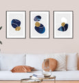 Blue and gold abstract beach pebble wall art print interior wall gallery