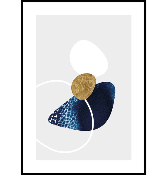 Blue and gold abstract beach pebble wall art print