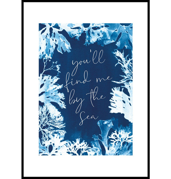 Seaweed cyanotype coastal wall art print, you'll find me by the sea
