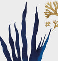 Blue and gold abstract seaweed wall art print close up detail