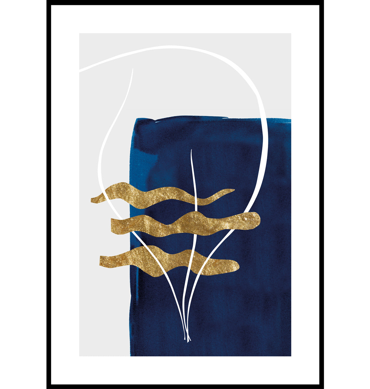 Blue and gold abstract seaweed wall art print