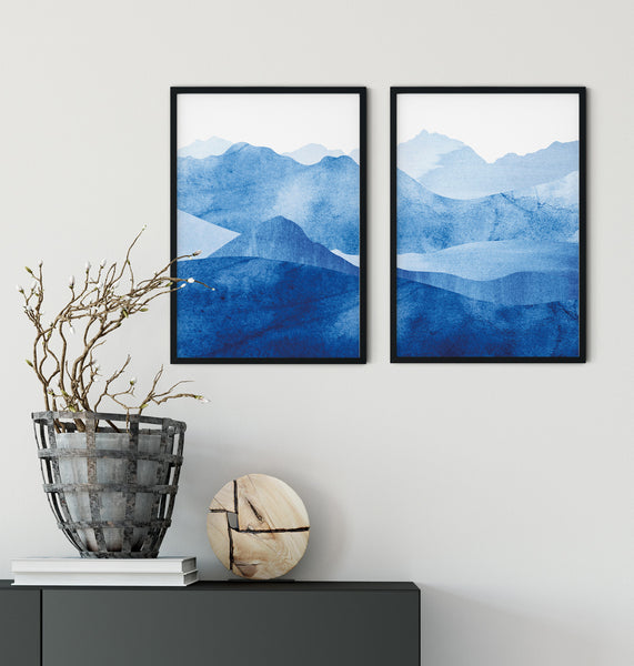 Pyrenees mountain, blue watercolour wall art set