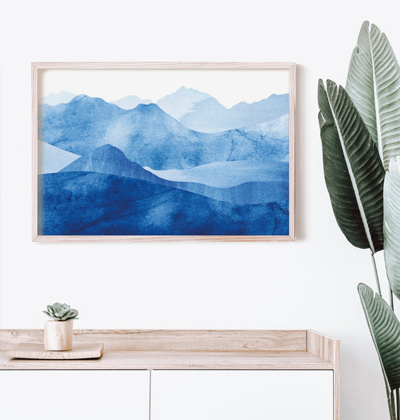 French Pyrenees mountain print, blue watercolour, interior frame