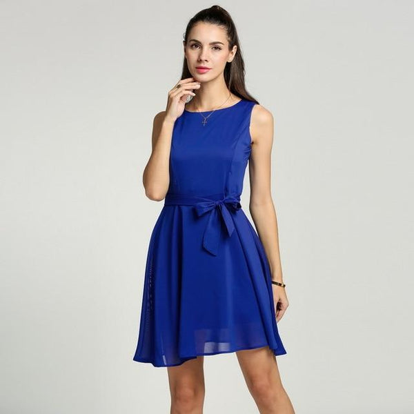 Elegant Pleated Chiffon Dress Sleeveless Vest mini Dress With Belt