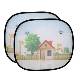 2Pcs Cartoon Car Curtain Baby Sun Shades Blocks Harmful UV Rays