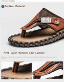 Genuine Leather Flip Flops Slippers