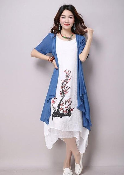 Fresh long dress Fake two pieces Dress casual