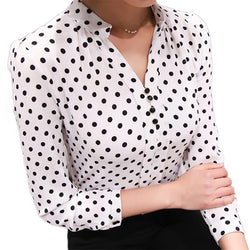 Chiffon Shirt Print Blouse Shirts Long Sleeve