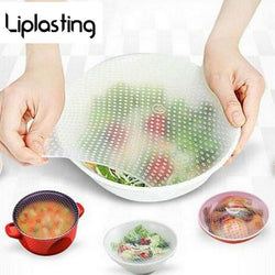 4Pcs/Set Silicone Food Savers Cling Stretch Film Fresh Food Cover Wrap