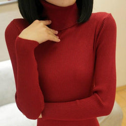 Elastic Long Sleeve Sweaters Pullover Turtleneck