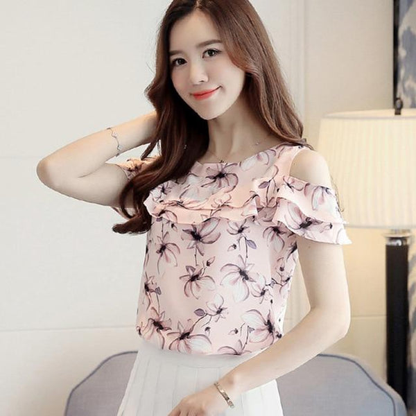 Chiffon Off Shoulder Short Sleeve Blouses Print Floral Shirts