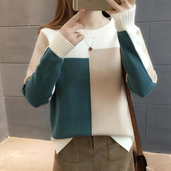 Contrast Color Knitted Sweater Pullover
