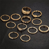 See-Mart.com 12 pc/set Charm Gold Color Midi Finger Ring Set