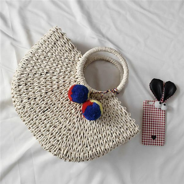 See-Mart.com beige / small Handmade Bags Straw  Wrapped Beach Bag Moon shaped