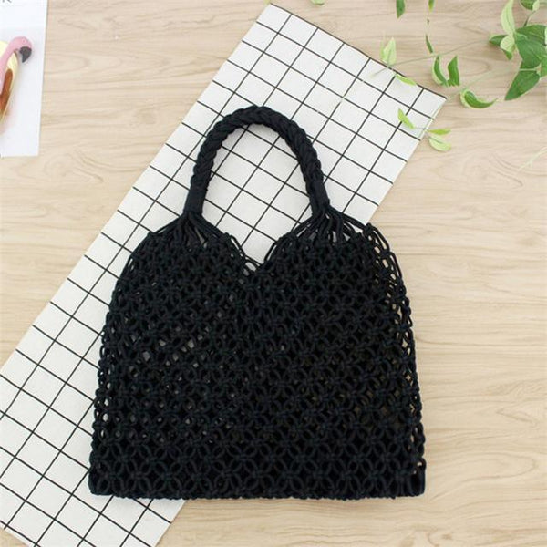 See-Mart.com black 35x35CM Fashion Popular Woven Bag Mesh Rope Weaving