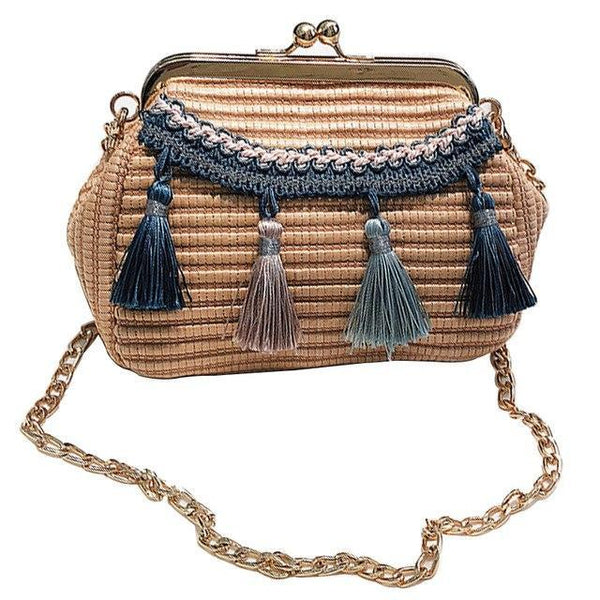 See-Mart.com Blue Handmade Woven PU Leather Tassel Shoulder Bag