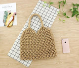 See-Mart.com brown 35x35CM Fashion Popular Woven Bag Mesh Rope Weaving