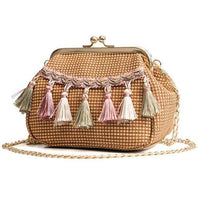 See-Mart.com Coffee Handmade Woven PU Leather Tassel Shoulder Bag