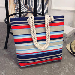 See-Mart.com E / 42X10X35 Canvas bohemian style striped Shoulder Bag