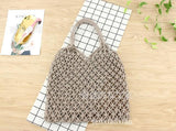 See-Mart.com gray 35x35CM Fashion Popular Woven Bag Mesh Rope Weaving