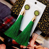 See-Mart.com green Crystal Tassel Earrings Silk Fabric Long Drop