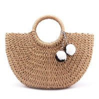 See-Mart.com Handmade Bags Straw  Wrapped Beach Bag Moon shaped