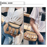 See-Mart.com Handmade Woven PU Leather Tassel Shoulder Bag