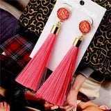 See-Mart.com pink Crystal Tassel Earrings Silk Fabric Long Drop