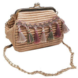 See-Mart.com Pink Handmade Woven PU Leather Tassel Shoulder Bag