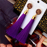 See-Mart.com purple Crystal Tassel Earrings Silk Fabric Long Drop