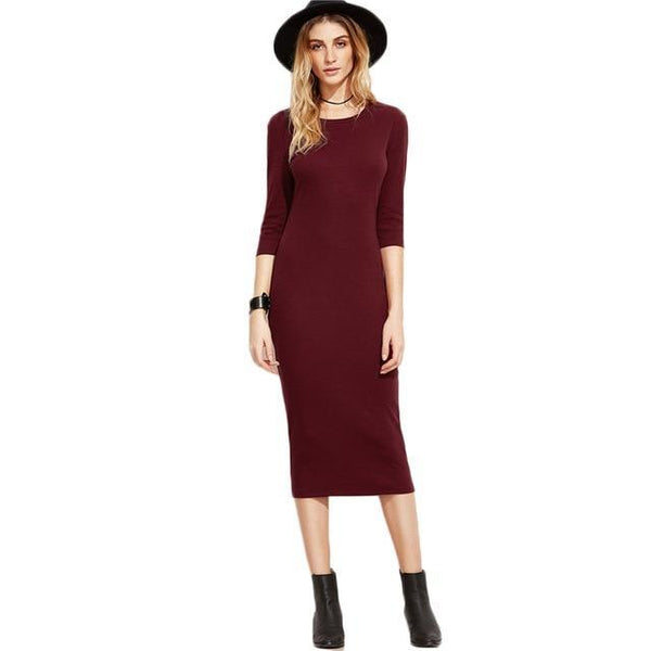 See-Mart.com Red / XS Burgundy Bodycon Office Dress 3/4 Sleeve