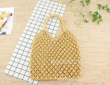 See-Mart.com yellow 35x35CM Fashion Popular Woven Bag Mesh Rope Weaving