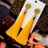 See-Mart.com yellow Crystal Tassel Earrings Silk Fabric Long Drop