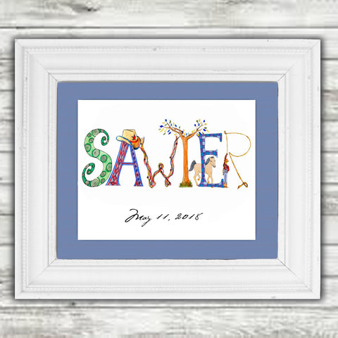 Custom 11x14 Name Art (matted only, not framed) - Customer chooses letters