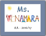 Teacher Gift - Custom 11x14 Name Art  - Artist chooses letters