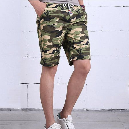Mens Drawstring Jogging Shorts Camouflage Beach Shorts