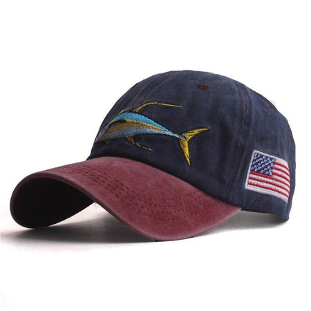 Washed Fish Embroidery Adjustable Sunshade Hat Baseball Caps