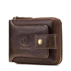 Vintage Genuine Leather 11 Card Slots Coin Bag Zipper Wallet