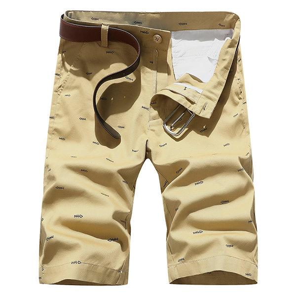 Mens Summer Cotton Breathable Little Pattern Thin Casual Shorts