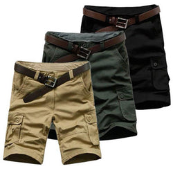 Mens Summer Solid Color Cargo Shorts