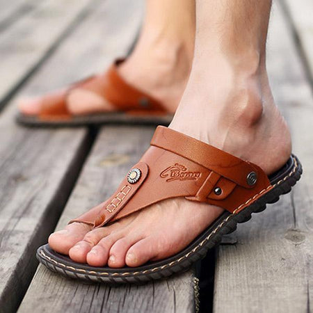 Mens Clip Toe Flat Casual Sandals Beach Slippers