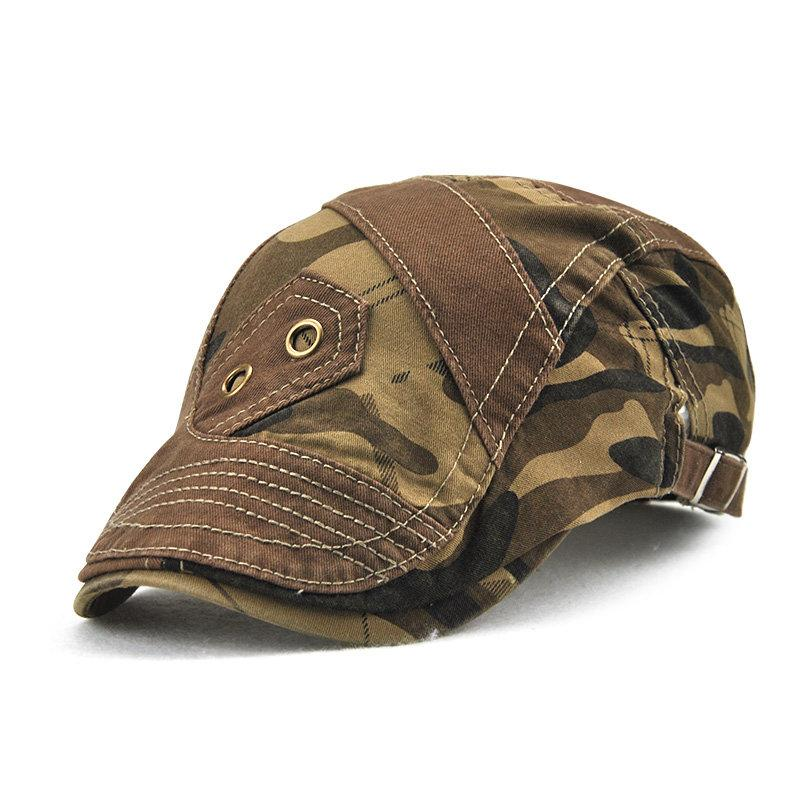 Men Pure Color Camouflage Patchwork Beret Caps Outdoor Visor Peaked Cap