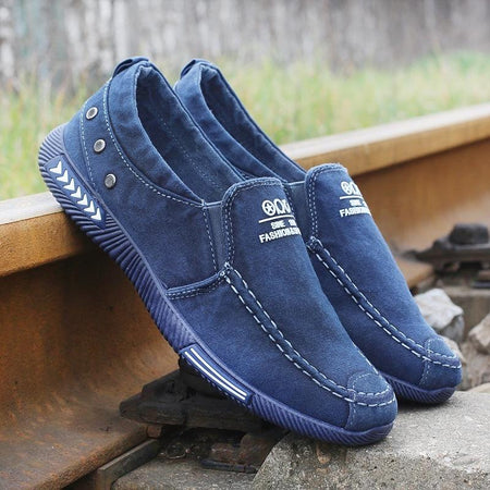 Men's Casual Canvas Flat Shoes Breathable Slip-on Loafers Flats