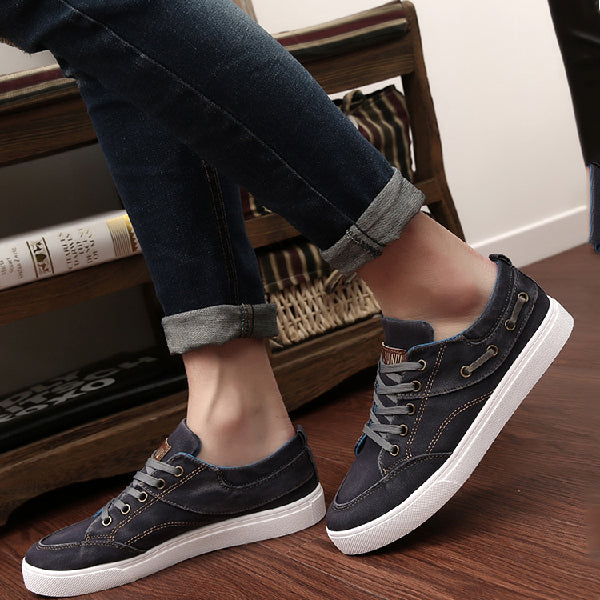 Lace-Up Denim Canvas Shoes