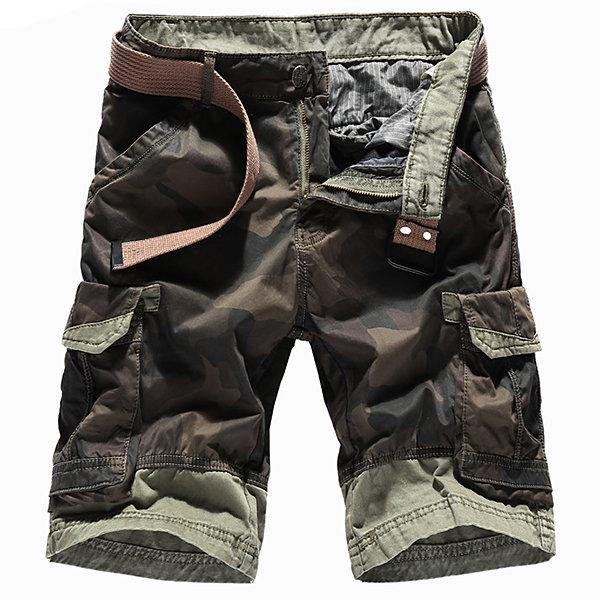 Mens Multi-pocket Camouflage Knee Length Casual Cargo Shorts