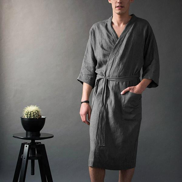 Men's Casual Solid Color Bathrobe
