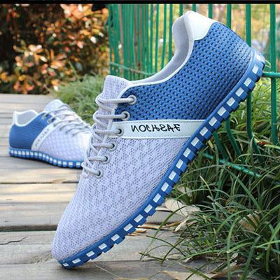 Mens Mesh Breathable Lace-up Flat Shoes Driving Shoes