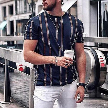 Mens Short Sleeve Fashion Striped T-Shirts
