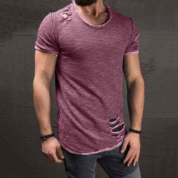 Men Slim-fit Hole Short-Sleeve T-shirt